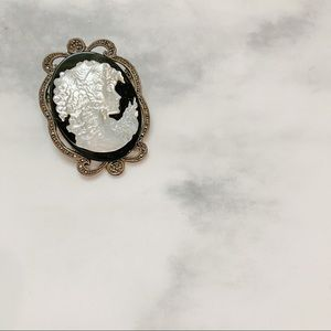 Vintage • Mother of Pearl & Marcasite Brooch